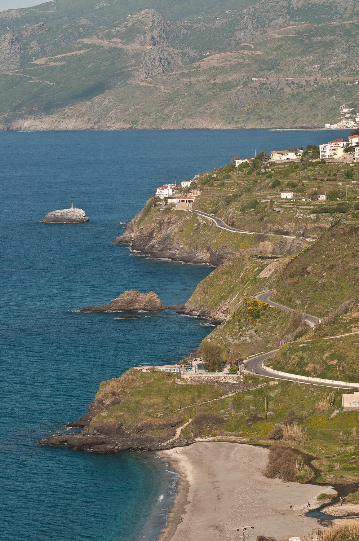 Road and coastline, Evdilos, Ikaria Island, Greece.