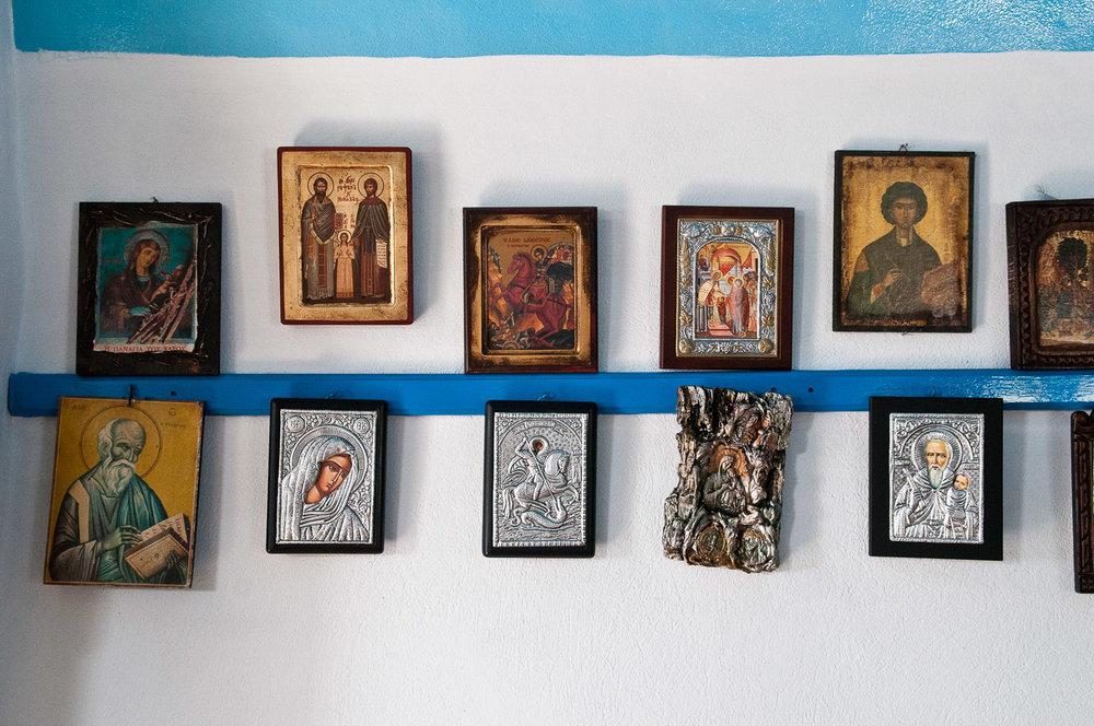 Interior of a church, Fourni Islands, Greece.