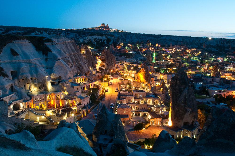 Cappadocia at dusk, Turkey.