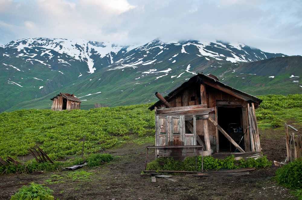 Old mountain huts, Mestia, Georgia.