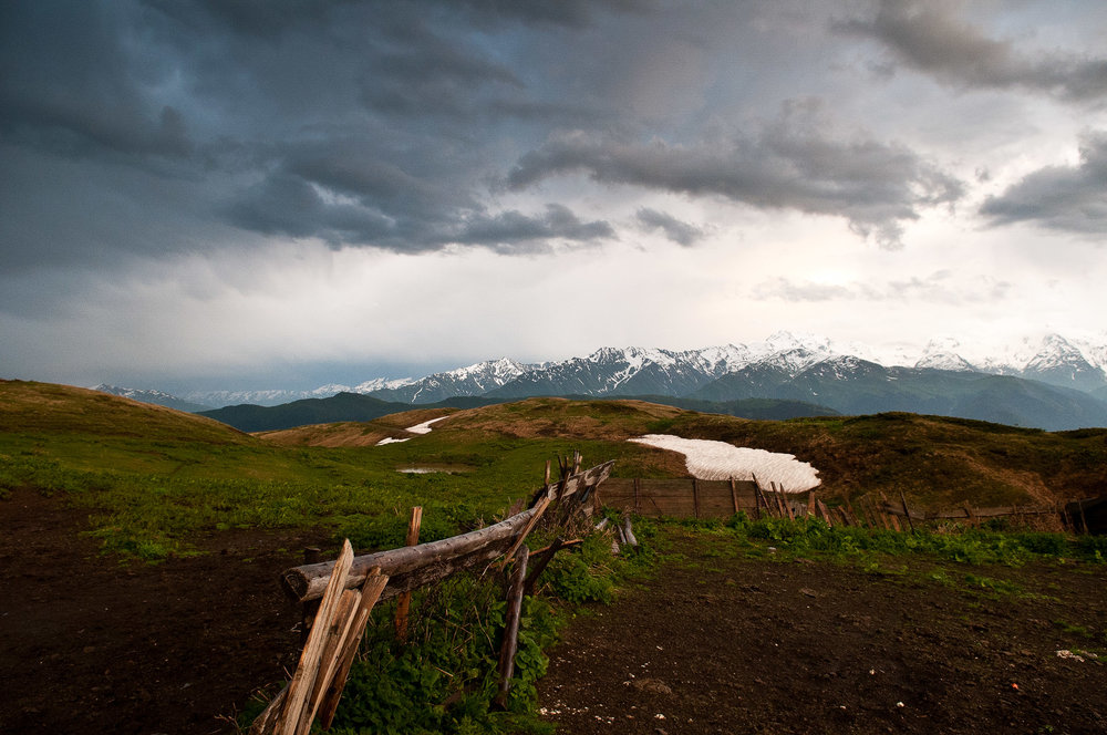Storm and mountains, Mestia, Georgia.