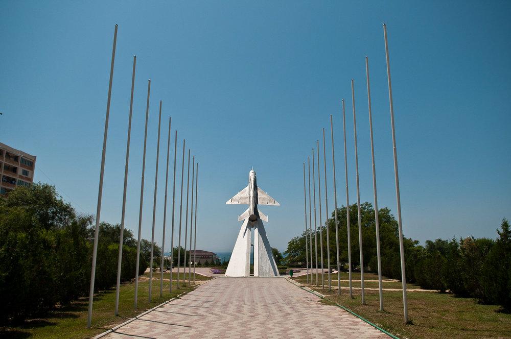 The famous MIG monument, Aktau, Kazakhstan.