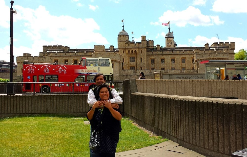 When you come up from the Train- you are across the Tower of London
