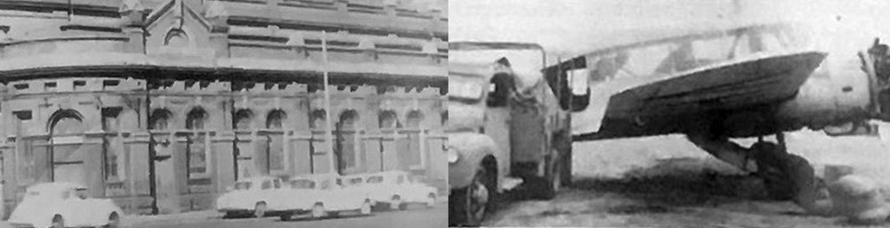 Left: Spencer Street end of the fish market, 1950s; Right: the first airfreight licence aircraft, 1946.