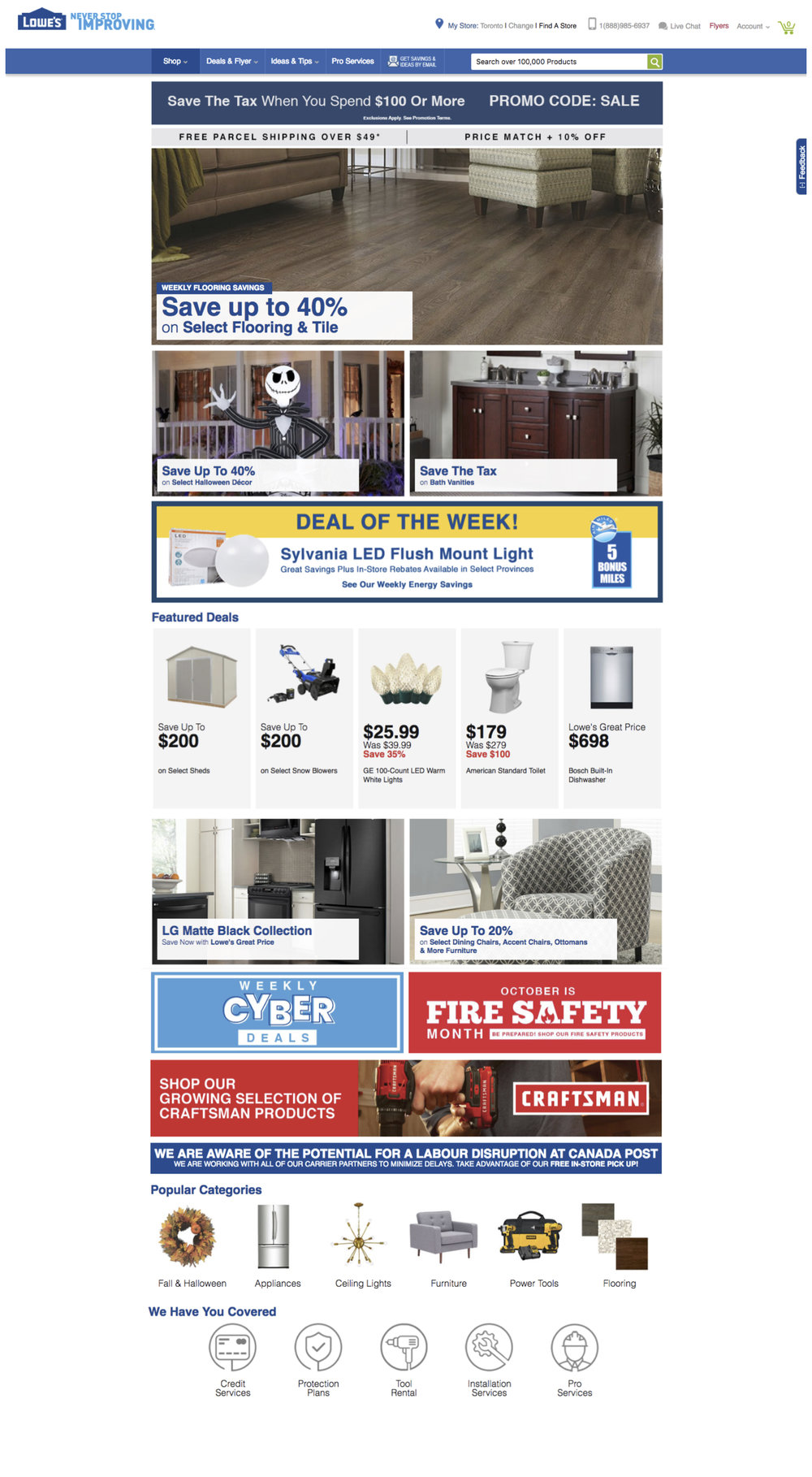 Client: Lowe's Canada  Homepage re-design, 2018