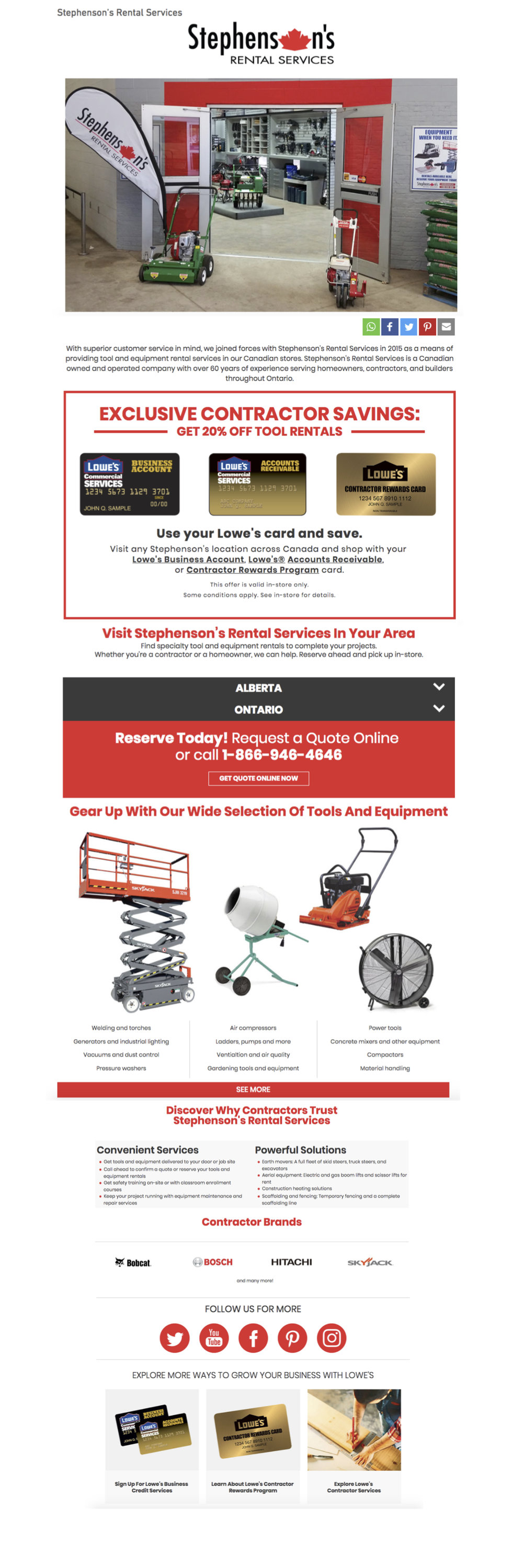 Client: Lowe's Canada  Stephenson's Tool Rental landing page, 2018