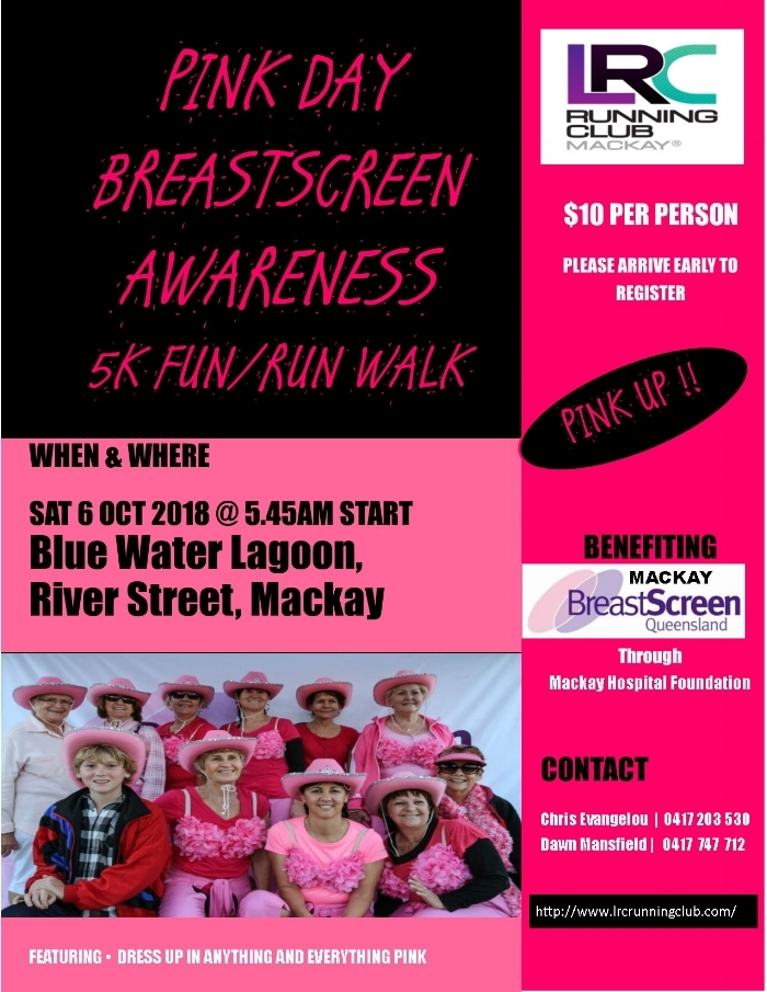 Join in the fun of running or walking 5km dressed up in PINK. Money raised goes directly to the Mackay Breastscreen Unit through the Mackay Hospital Foundation.