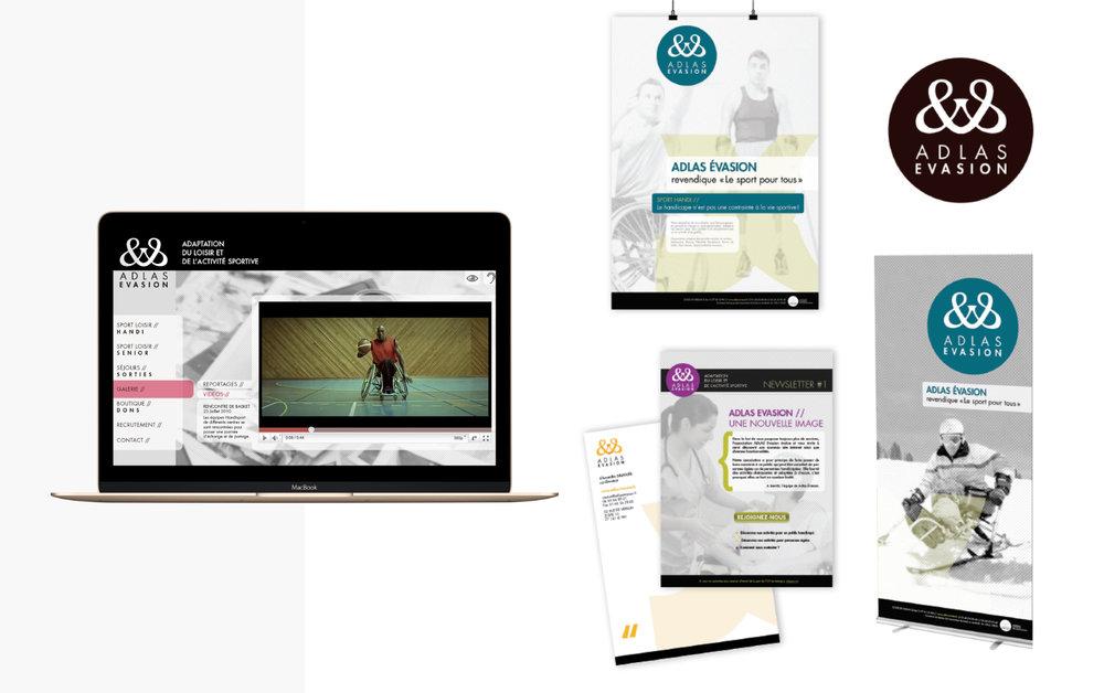 Client : Adlas Evasion Rôle : Analyse de la demande, campagne de communication + refonte de la charte graphique globale Print & Web
