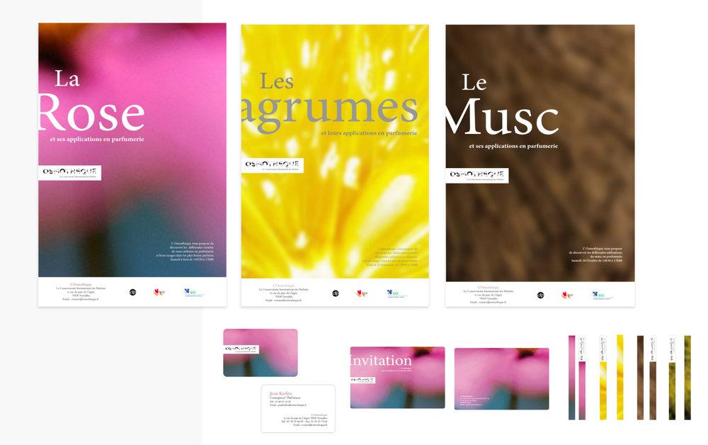 Client : Osmothèque, le Conservatoire International des parfums Rôle :Refonte de la charte graphique globale Print