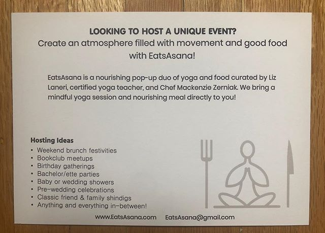 Looking to host a unique event or gathering at your place? #eatsasana #togetherwenourish #hosting #friendsyogafood #rochesterny #rocfood #rocyoga