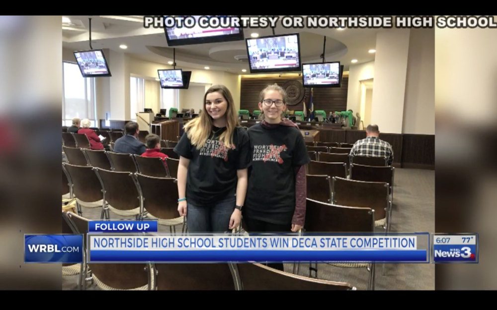 MacKenzie and Cheyanne at the City Council meeting where Micah's Promise Day was declared.