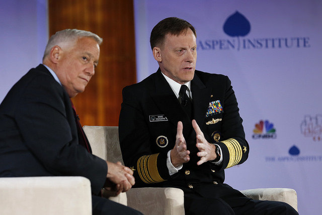 Aspen's then-President and CEO, Walter Isaacson, interviews Admiral Michael S. Rogers, then-Director of the NSA.