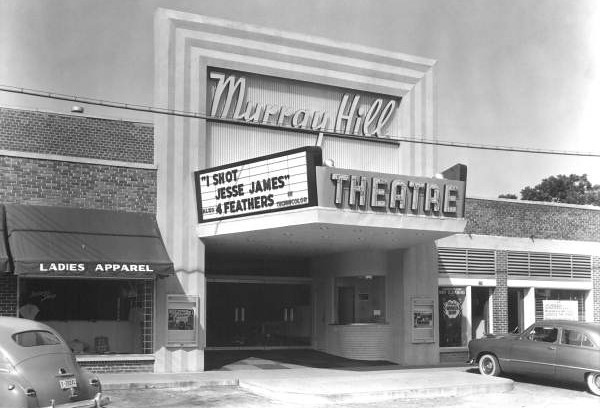 "The Murray Hill Theatre (image above from 1949) is the Murray Hill community's only locally designated historic landmark. The theater opened August 1949 and was praised for its air conditioning, crying room and slide back seats. Mayor Hayden Burns welcomed guests who paid 50 cents to see ""Red River"" starring John Wayne and Montgomery Clift."