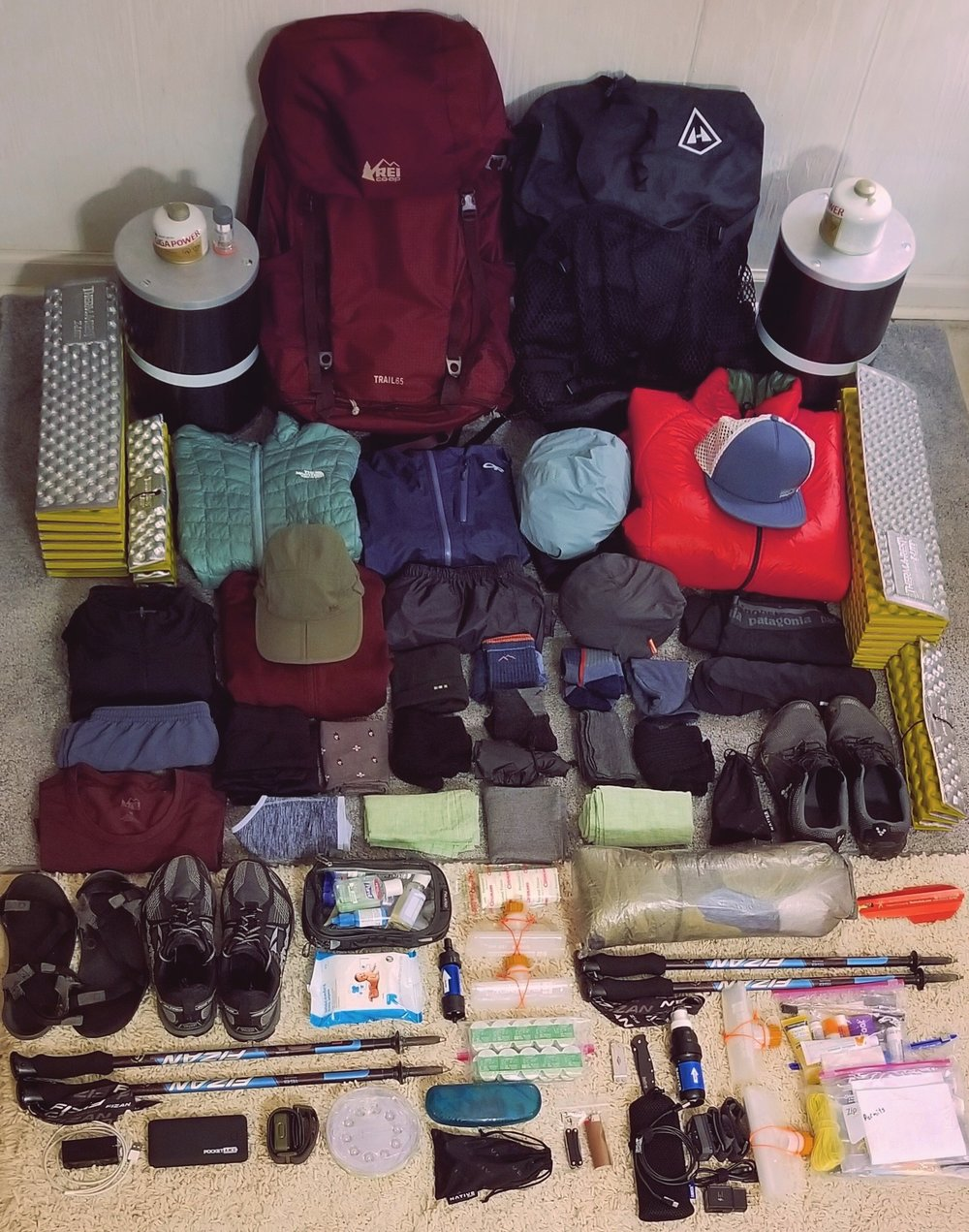 A picture of all our gear for the trail!