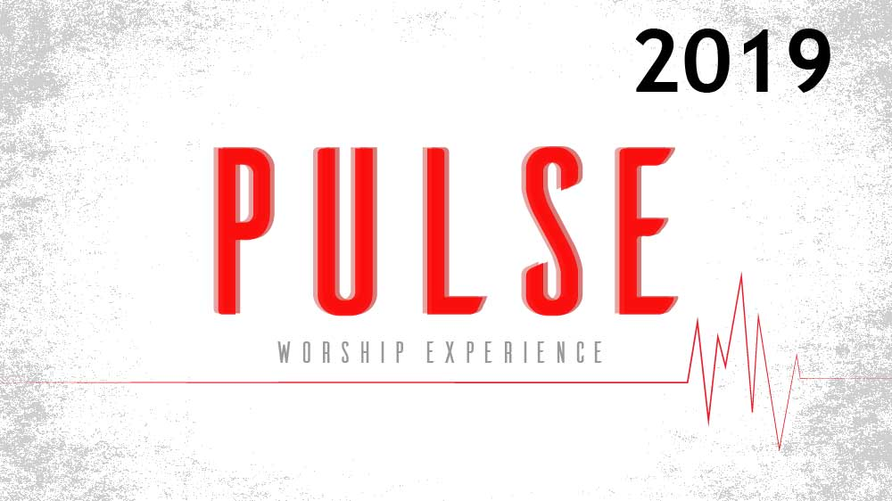 White background with a red electrocardiogram spanning it's width. It says 'Pulse worship experience 2019 ' in the middle