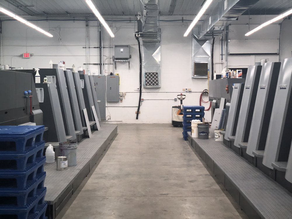 Offset Printing - We offer different varieties of offset printing. Our Heidelberg presses can print 1-5 color with a sheet size up to (23 x 29).