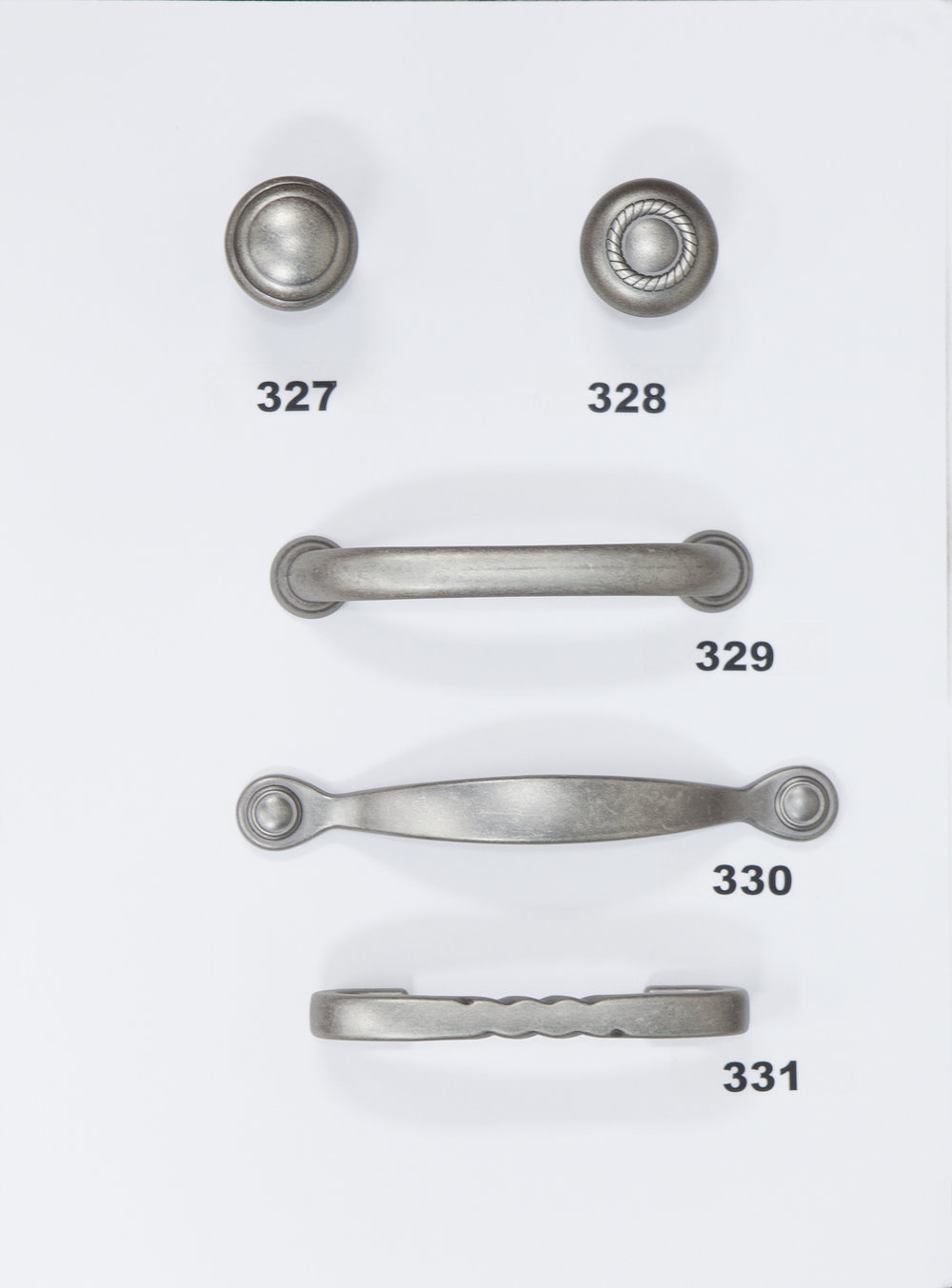 "#327 - Knob - Weathered Nickel  #328 - Knob - Weathered Nickel  #329 - 3 3/4"" Center - Weathered Nickel  #330 - 3"" Center - Weathered Nickel  #331 - 3'' Center - Weathered Nickel"
