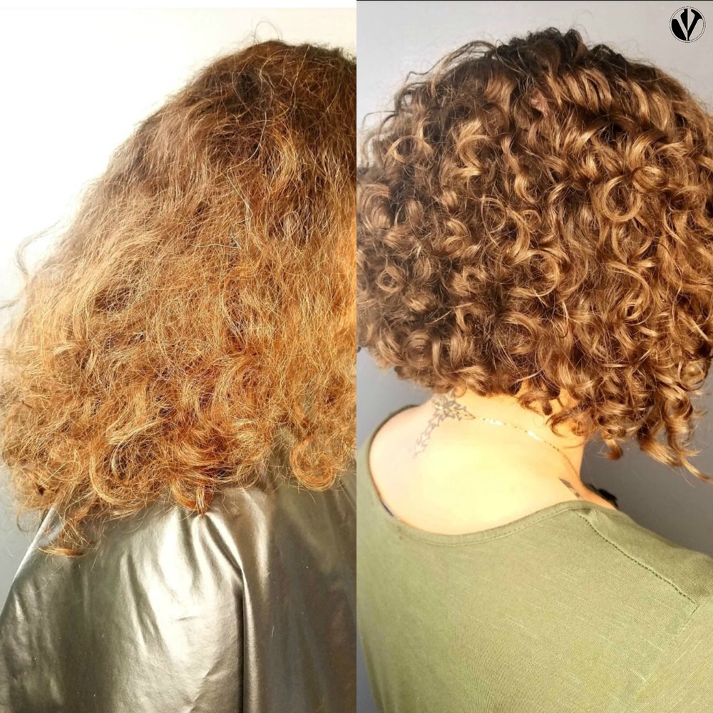 The curl definition that this client experienced was due in-part to the ability of her hair to dry naturally and without interference under the hooded dryer. This client could anticipate a 30-45 minute dryer time with final touch-ups using low-heat and a diffuser