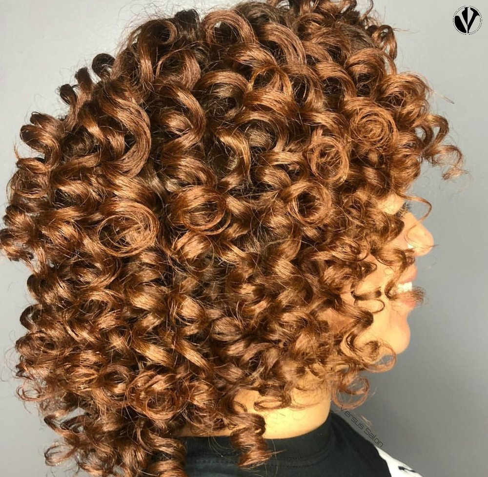 This client has bomb curls as a result of FlexiRods that set under the dryer for about 2 hours. Services like Lacers, Rollersets, and FlexiRods require the longest time under a hooded dryer for results like this!