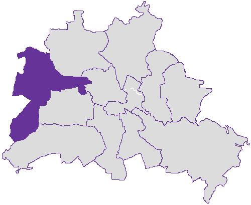 Berliner Wahlbezirke mit Spandau und Charlottenburg Nord im Westen
