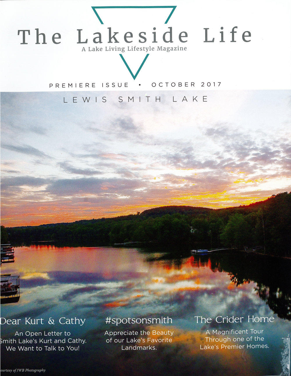 The Lakeside Life Magazine Cover Page for Studio C Crider Lake Home Renovation architecture