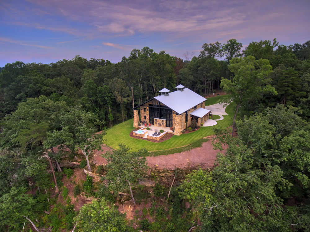 Crider Lake House Aerial view architecture exterior and interior architecture Alabama