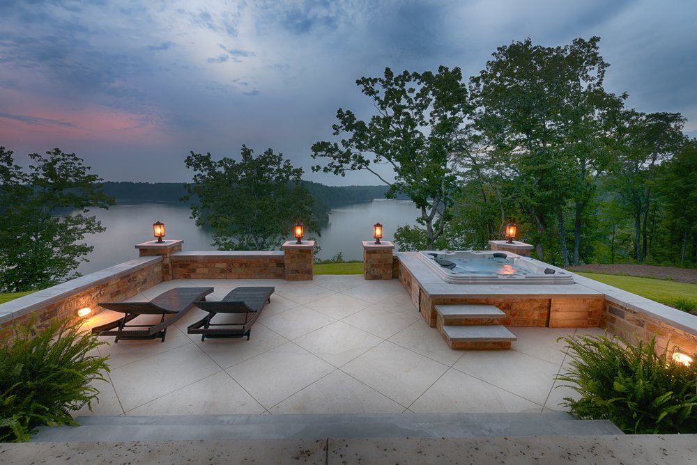 Rear view of Crider Lake house #architecture #exterior #lakeliving
