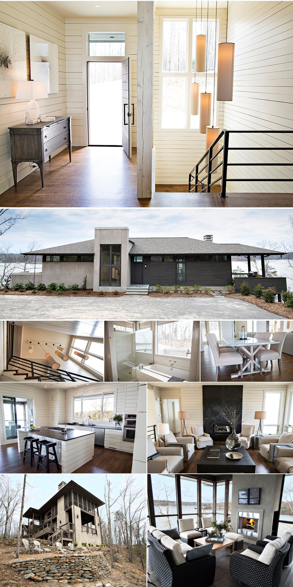 Lake Living collage exterior and interior design architecture Alabama