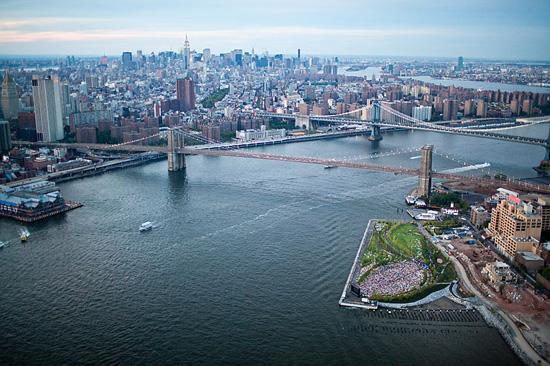 Brooklyn Bridge Park, Pier 1, seen from the air. Michael Van Valkenburgh Associates.