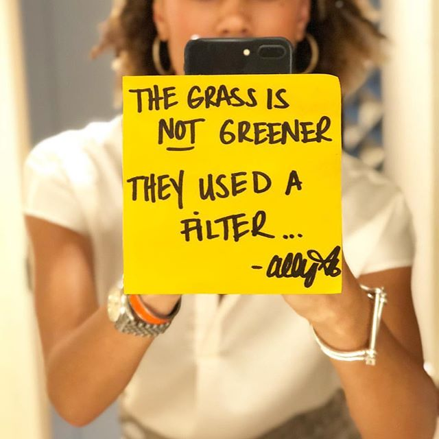 """""""... Grass just doesn't grow perfectly, and when we get a window as small as social media, we sometimes assume that """"theirs is better than mine"""" but it's not true 🙅🏽♀️!! What you have is perfectly imperfect —you have to get dirty for something to grow... LET'S DO THIS."""" 💚— @allymisslove #spoileralert #lovesquad #hersummit"""