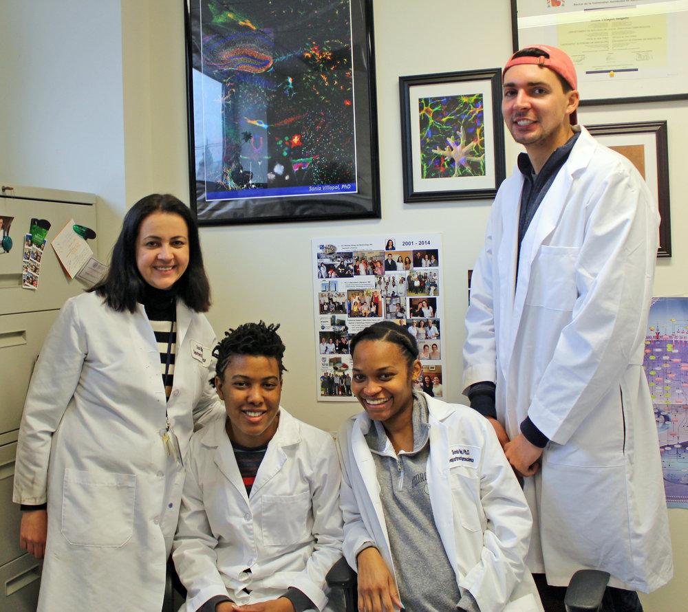 Villapol Lab, May 2017 (Georgetown University, Washington D.C.)  (left to right; Sonia Villapol, Leah Benton, Kershina George, and William Furlow)