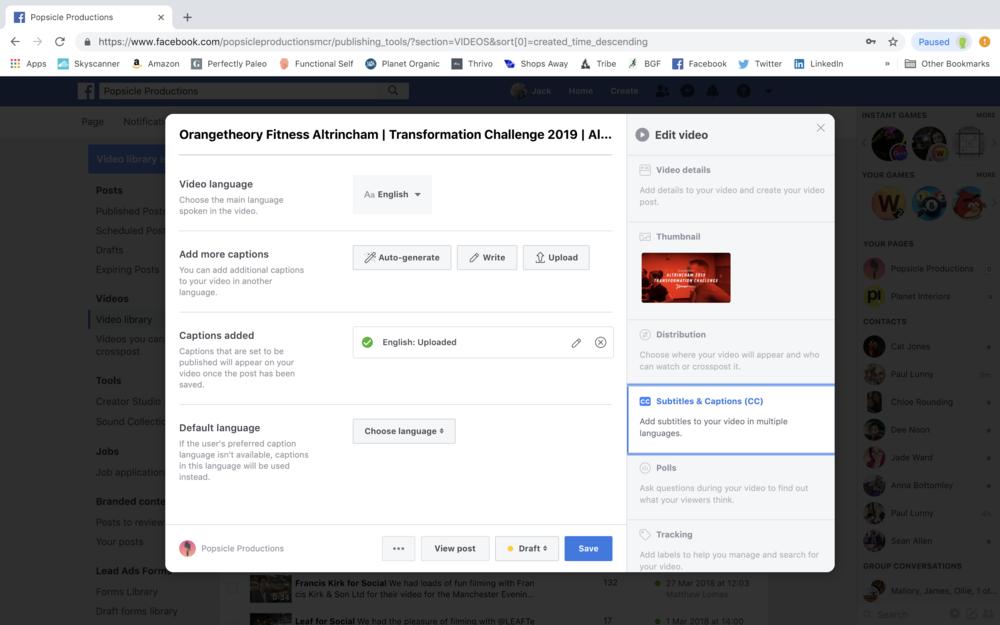 Facebook Video Upload Window