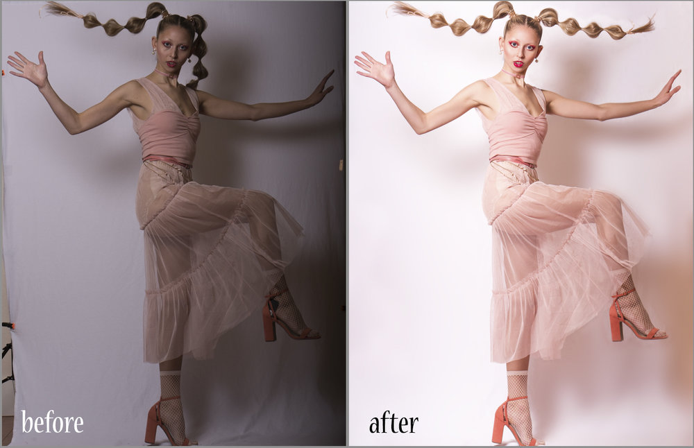 """A before and after editing from one of my latest publishings in PROMO Magazine """"Living Plastics"""" featuring model Geneva. As you can tell a lot changed from the raw to the final product, this edit took me around 2 or so hours to complete. For this series not only was I the photographer and retoucher, I also did the styling and makeup. All of which took a ton of my time and used up materials."""