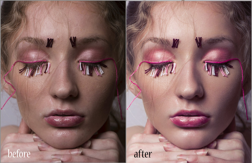 """Before and after editing one of the images from my """"Heartstrings"""" beauty editorial featured on Scorpio Jin Magazines' website with model Amara. This edit took me around two hours to fully complete, and that was just one of the 13 images used for this spread. Thats  over 26 hours in total of just editing , not including the 5 hour shoot time."""