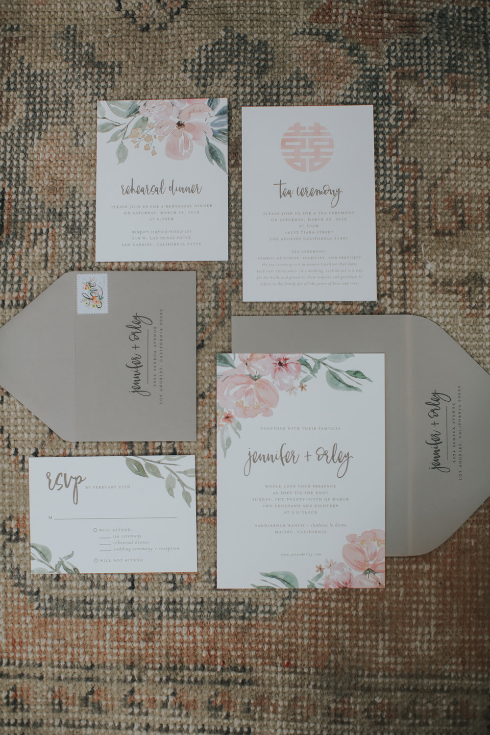 Custom floral wedding invitations, shabby chic wedding invitations, Los Angeles wedding     Orange Blossom Special Events