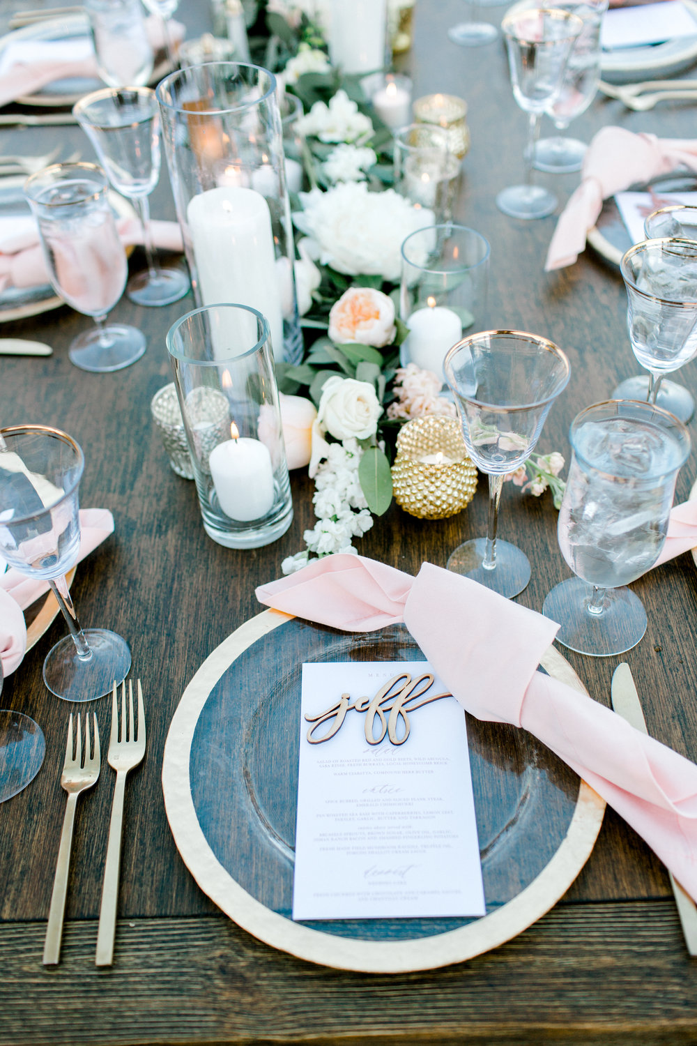 custom wedding table settings, rose gold wedding utensils, Los Angeles wedding, custom wedding glassware, outdoor wedding, custom wedding decorations     Orange Blossom Special Events