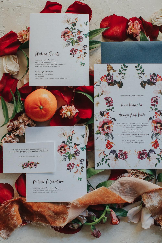 custom bold wedding invitations, custom floral wedding invitations, Los Angeles wedding, custom wedding save the date     Orange Blossom Special Events