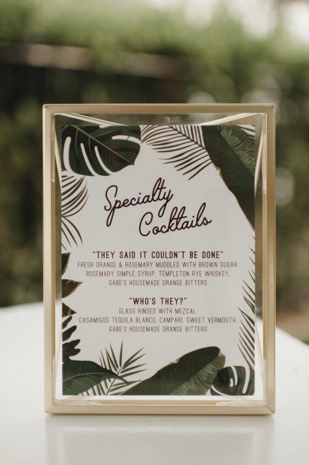 Custom Wedding Design, Los Angeles, Cocktail Menu, Floral Wedding Sign    Orange Blossom Special Events