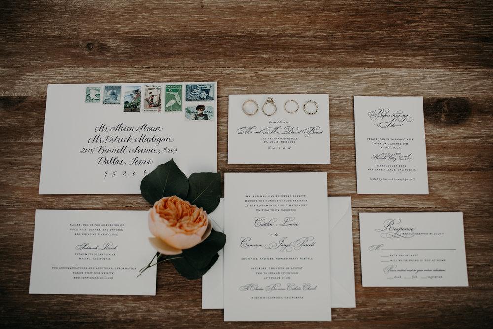 custom chic wedding invitations, black and white wedding invitations, Los Angeles wedding invitations     Orange Blossom Special Events