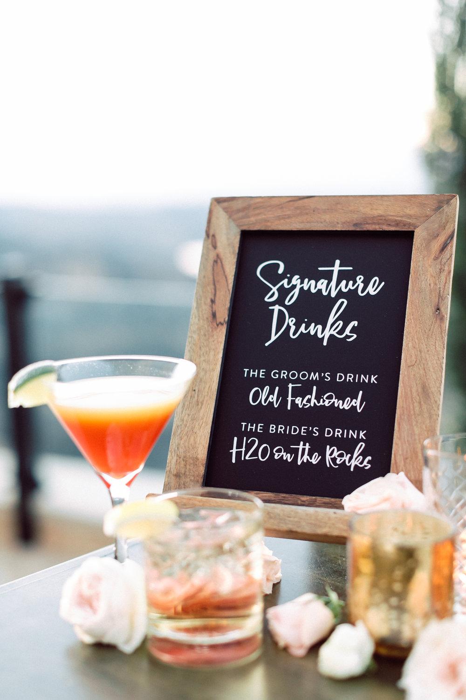 Cocktail Sign, Custom Wedding Design, Los Angeles, Chalkboard Sign, Floral Wedding Sign    Orange Blossom Special Events