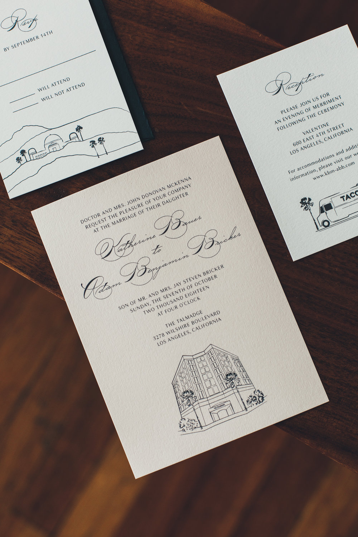 custom black and white wedding invitations, simple wedding invitations, Los Angeles weddings     Orange Blossom Special Events