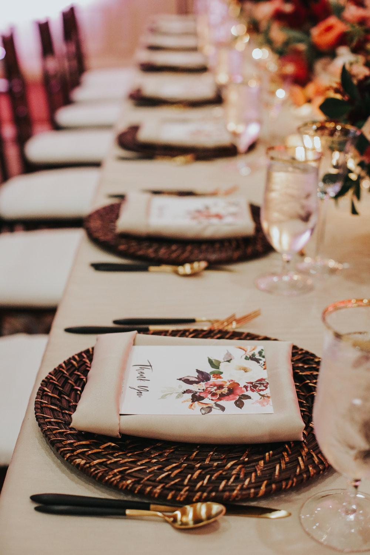 custom wedding invitations, custom wedding place setting, floral wedding menu, custom wedding silverware, outdoor wedding dinner, Los Angeles wedding     Orange Blossom Special Events
