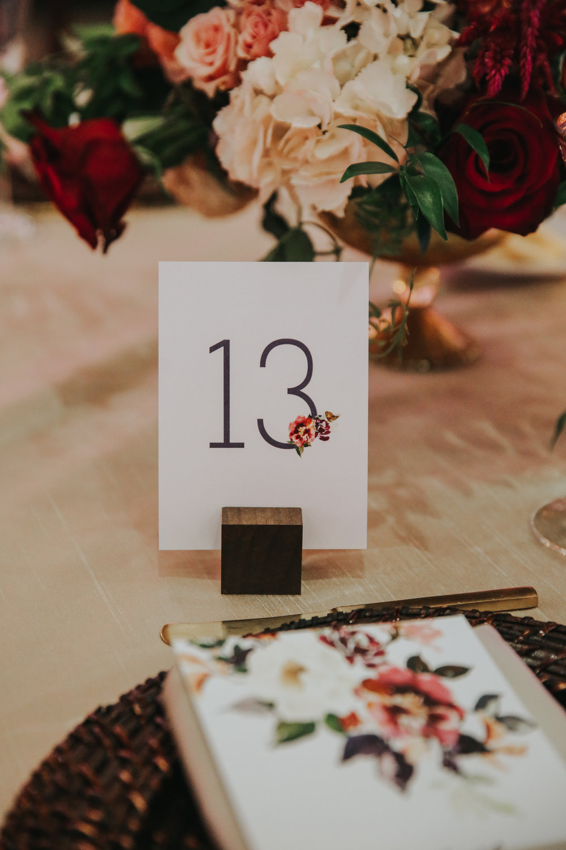 custom wedding table setting, custom wedding table numbers, custom wedding decorations, floral wedding decor, Los Angeles wedding design     Orange Blossom Special Events