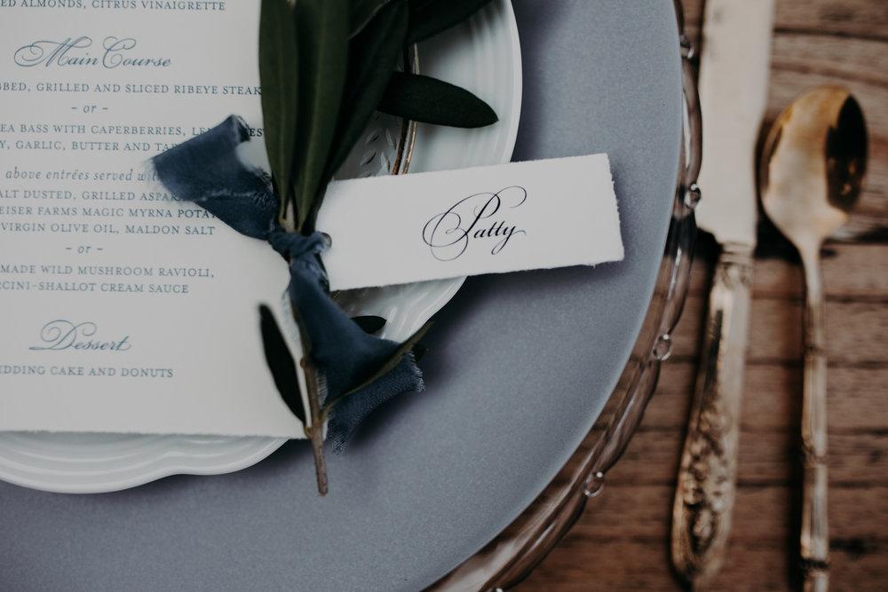 custom wedding invitations, custom wedding place setting, custom wedding menu, custom wedding silverware, outdoor wedding dinner, Los Angeles wedding     Orange Blossom Special Events