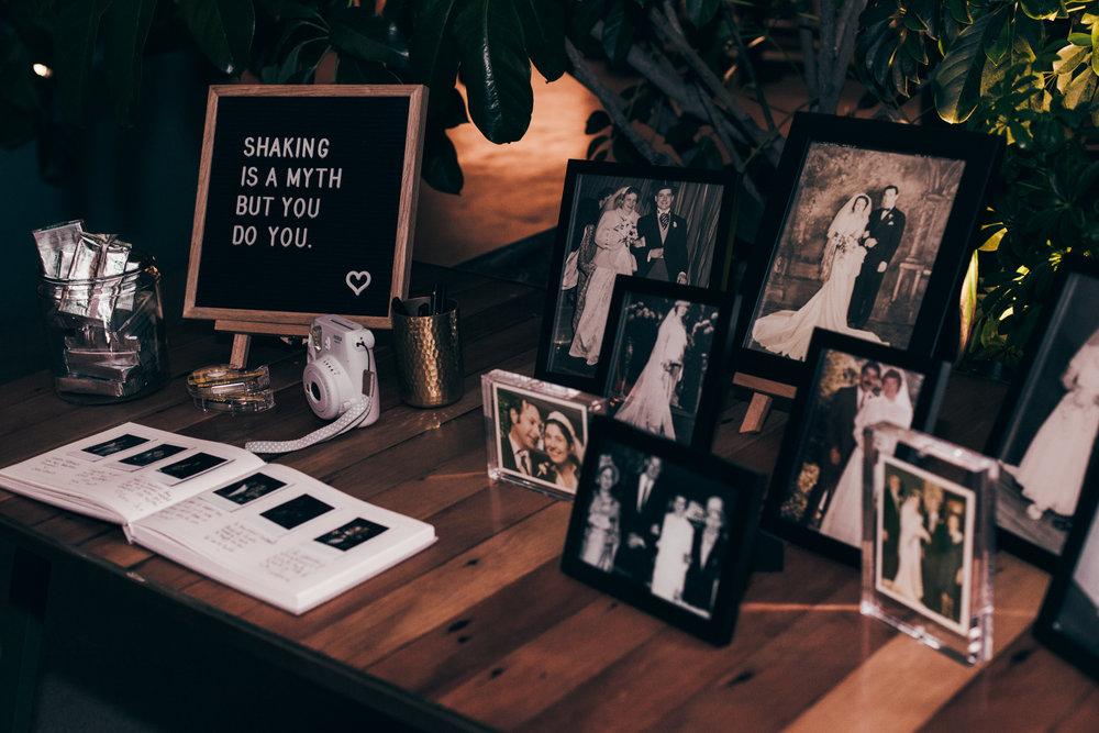 custom wedding decorations, wedding photos, wedding sign in, black and white wedding photos, Los Angeles wedding     Orange Blossom Special Events