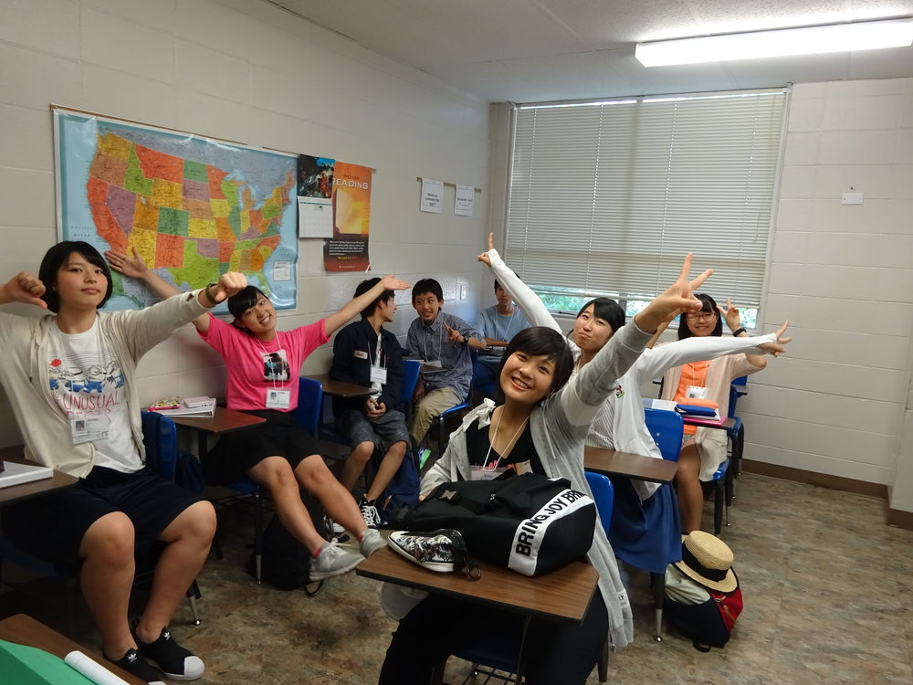 Japanese students learning English on a TIEC program.