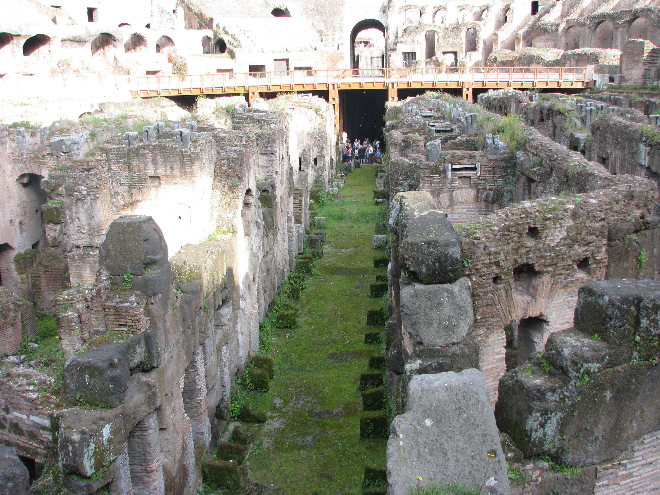 The area beneath the stage where the gladiators and animals were kept.