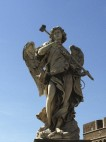 One of many statues lining the Umberto Bridge from Castel Sant'Angelo toward the Piazza Navona section of Rome.
