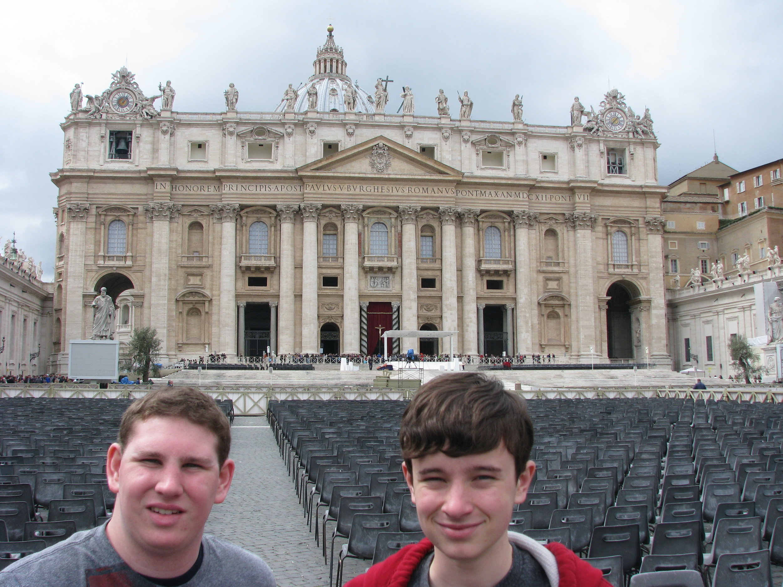 Boys in front of St Peter's
