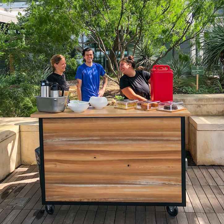 Cookbook Café & Bars rooftop coffee cart features drip coffee, pastries and more. Come grab and good book, fresh coffee, and enjoy the view of Austin.